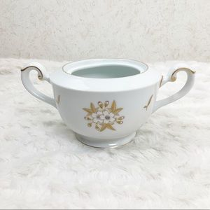 Fukagawa Arita white flower gold leaf sugar bowl